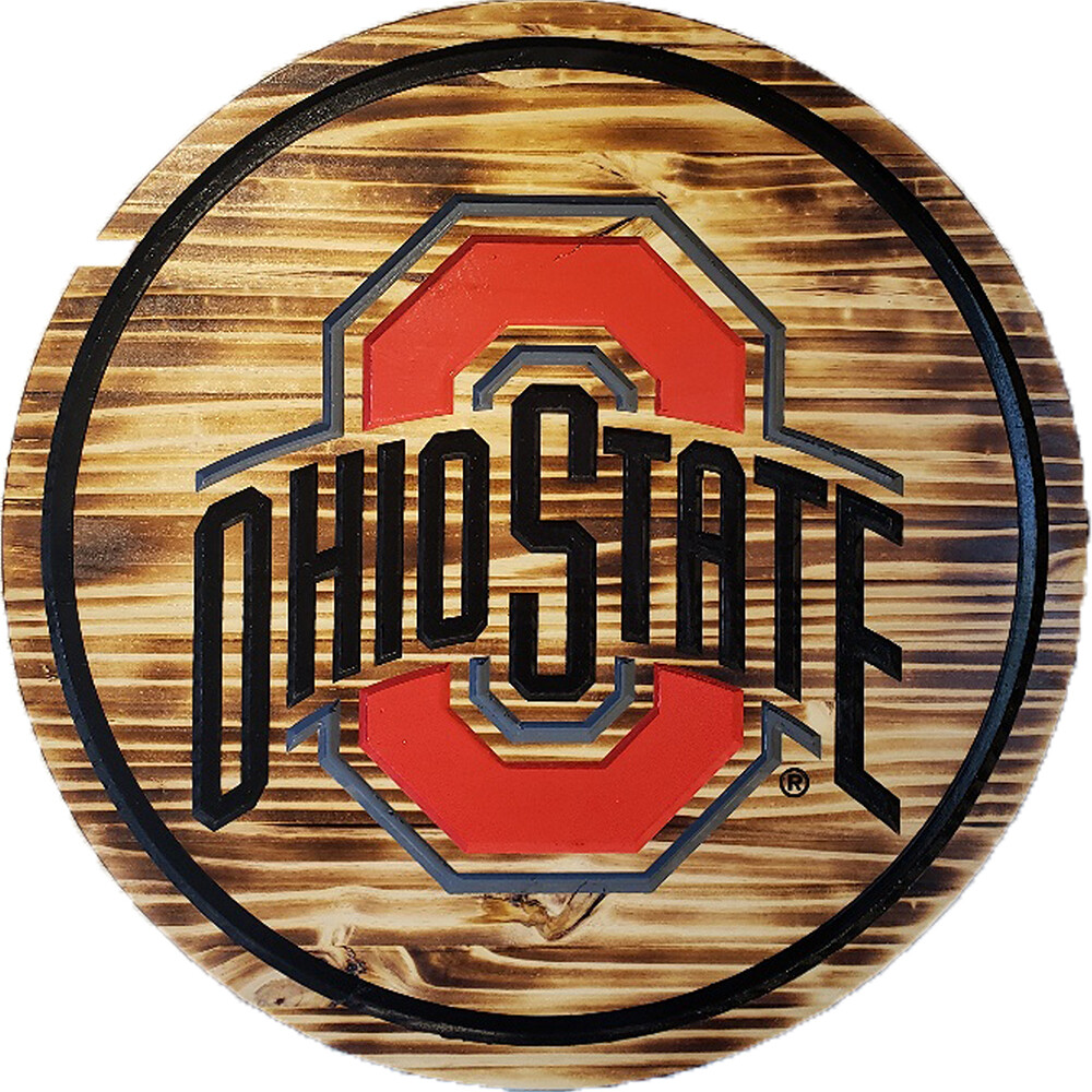 "Ohio State Athletic Logo 24"" Barrel Head with Burned Wood"