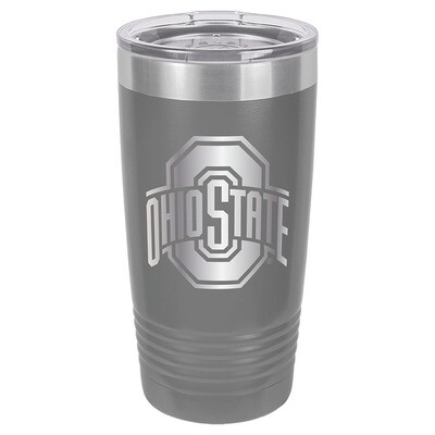 Ohio State Athletic Logo - Gray 20oz Beverage Tumbler with Lid