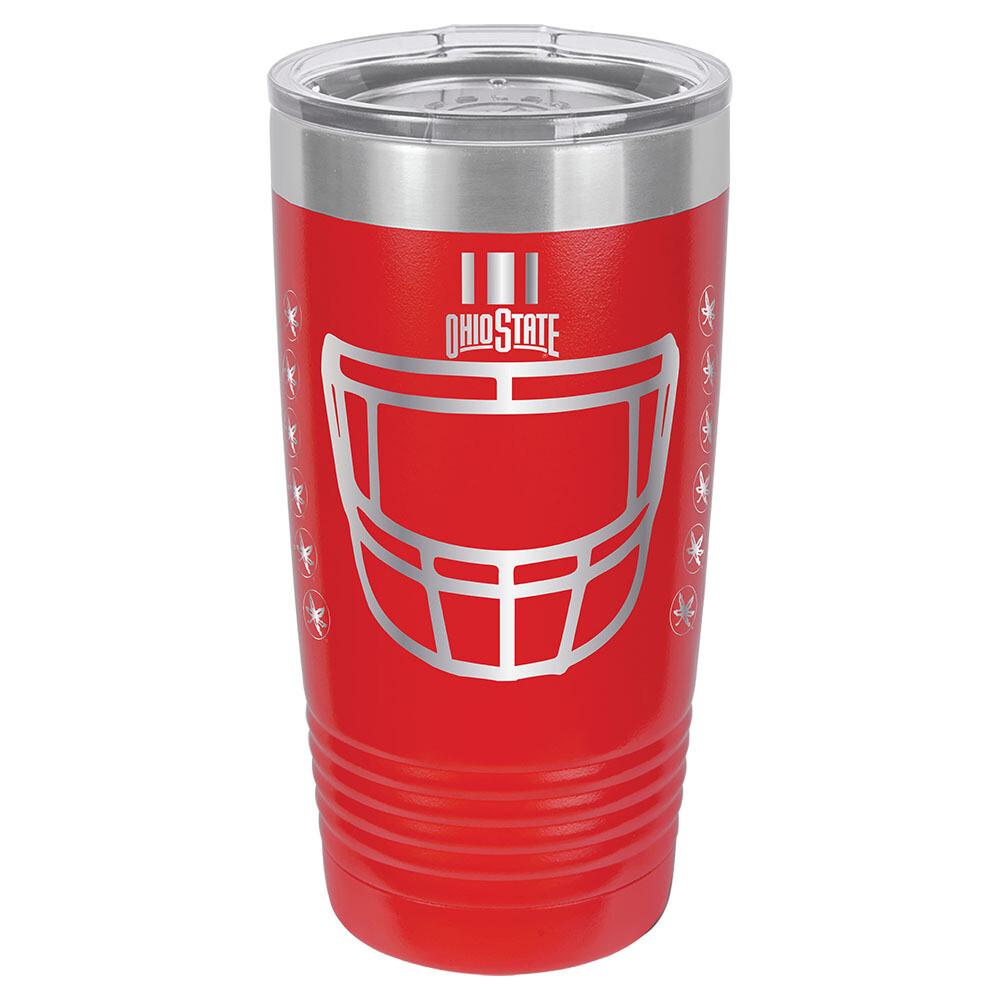 Ohio State Helmet Logo - Red 20oz Beverage Tumbler with Lid