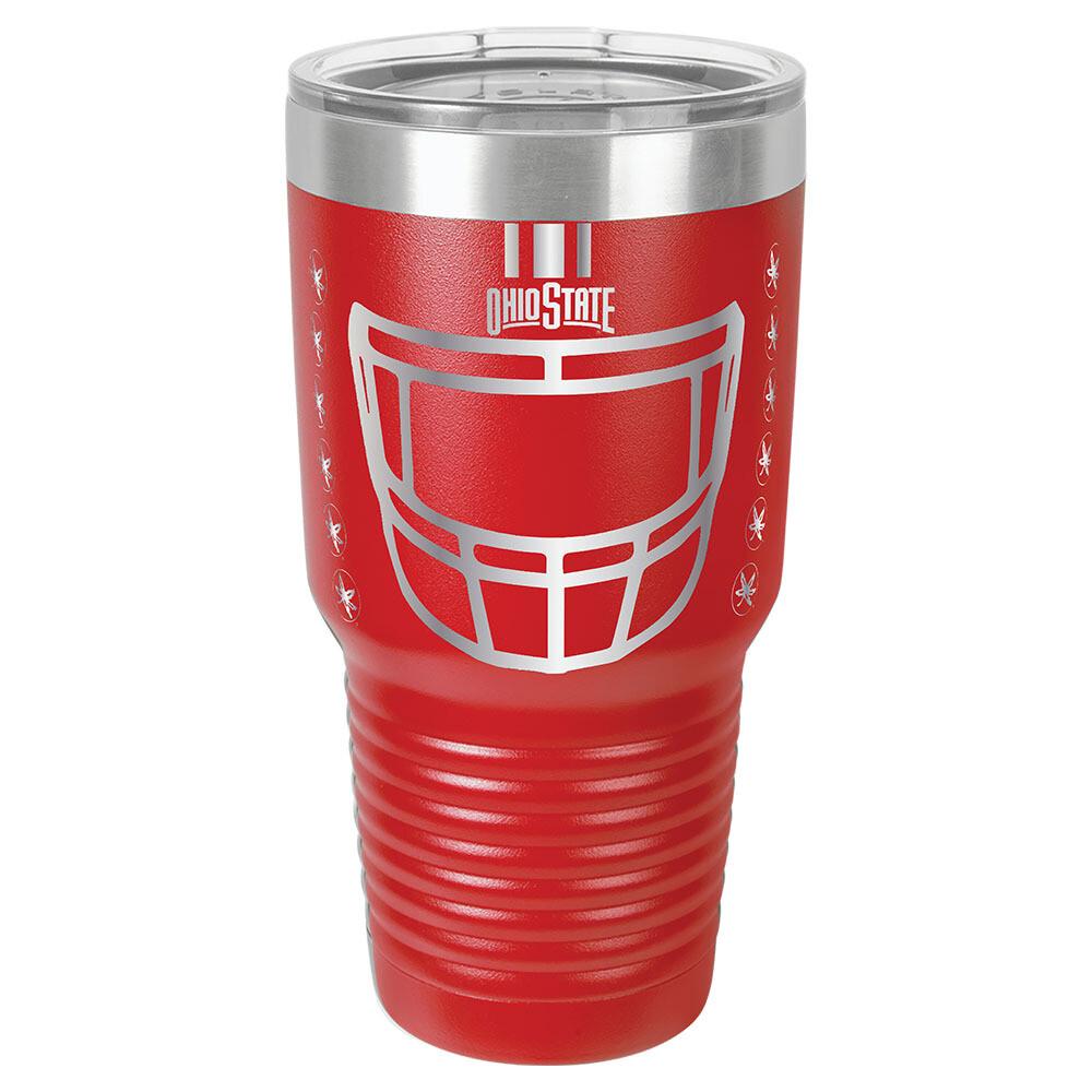 Ohio State Helmet Logo -  Red 30oz Beverage Tumbler with Lid