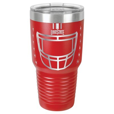 Ohio State Helmet Logo -  Red 30oz Beverage Tumbler with Lid