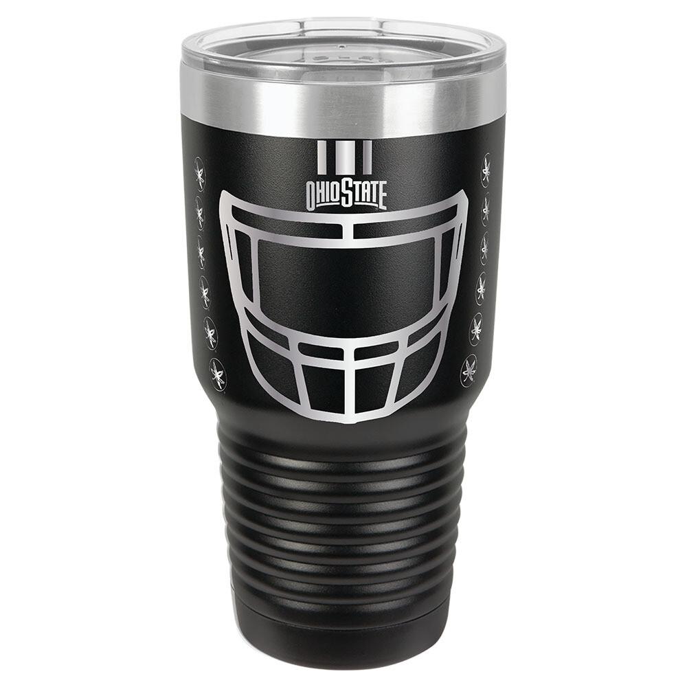 Ohio State Helmet Logo -  Black 30oz Beverage Tumbler with Lid