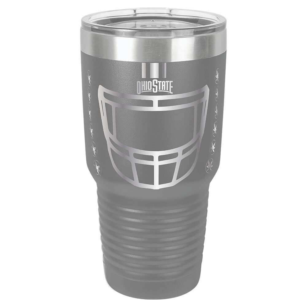 Ohio State Helmet Logo -  Gray 30oz Beverage Tumbler with Lid