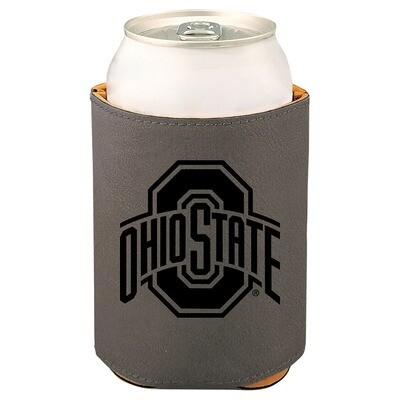 Ohio State Athletic Logo - Gray Leatherette Beverage Holder