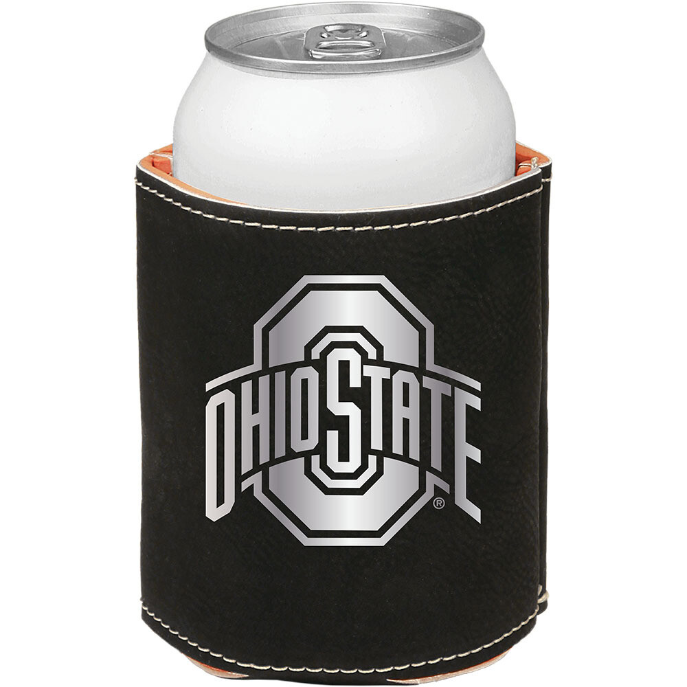 Ohio State Athletic Logo - Black with Silver Leatherette Beverage Holder