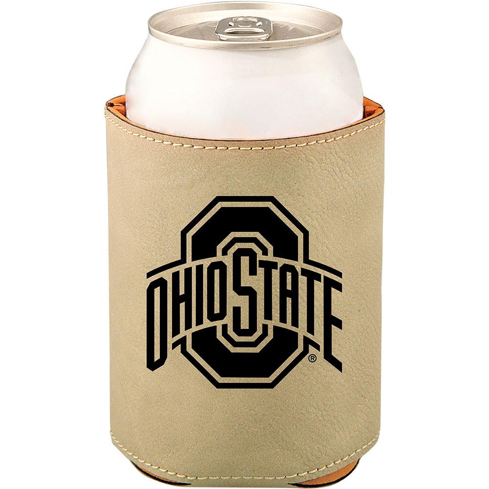 Ohio State Athletic Logo - Light Brown Leatherette Beverage Holder