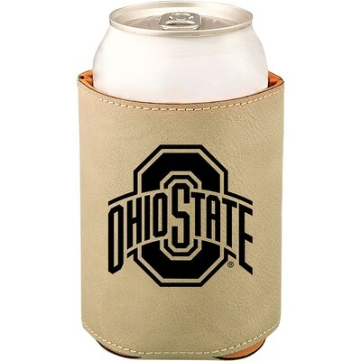 Ohio State Athletic Logo - Light Brown Leatherette Beverage Holder