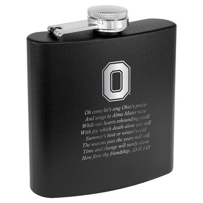 Ohio State Alma Mater Logo - Black Stainless Steel Flask