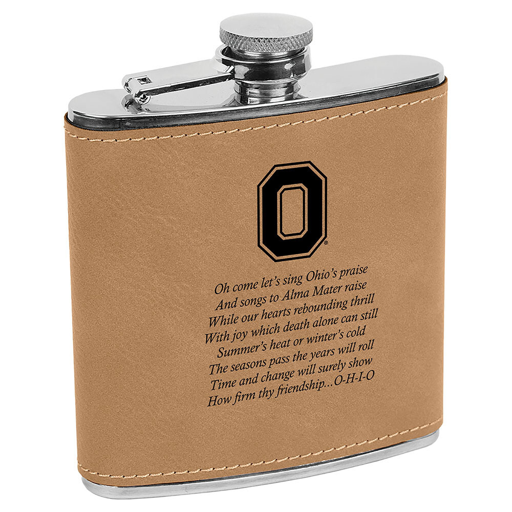 Ohio State Alma Mater Logo - Light Brown Leatherette Flask