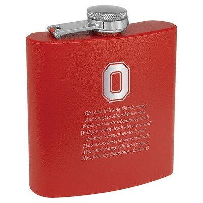 Ohio State Alma Mater Logo - Red Stainless Steel Flask