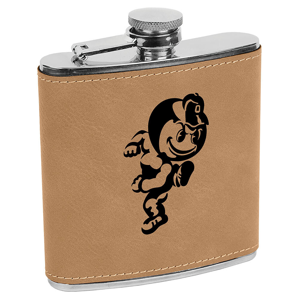 Ohio State Brutus Logo - Light Brown Leatherette Flask