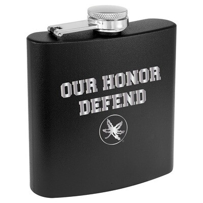 Ohio State Our Honor Defend Logo - Black Stainless Steel Flask
