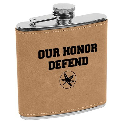 Ohio State Our Honor Defend Logo - Light Brown Leatherette Flask