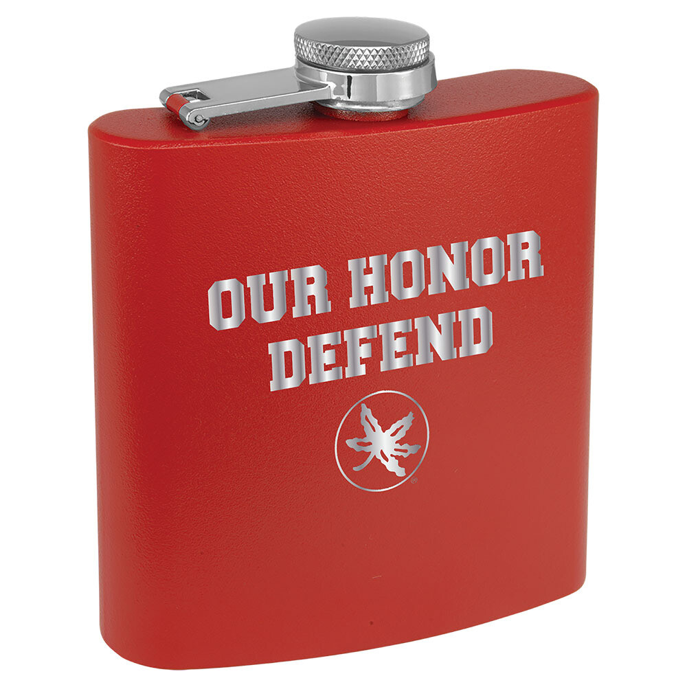 Ohio State Our Honor Defend Logo - Red Stainless Steel Flask