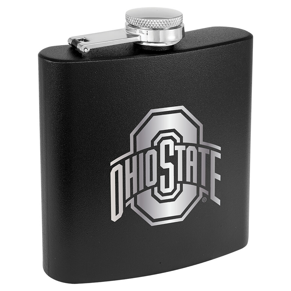 Ohio State Athletic Logo - Black Stainless Steel Flask