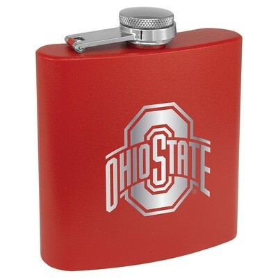 Ohio State Athletic Logo - Red Stainless Steel Flask