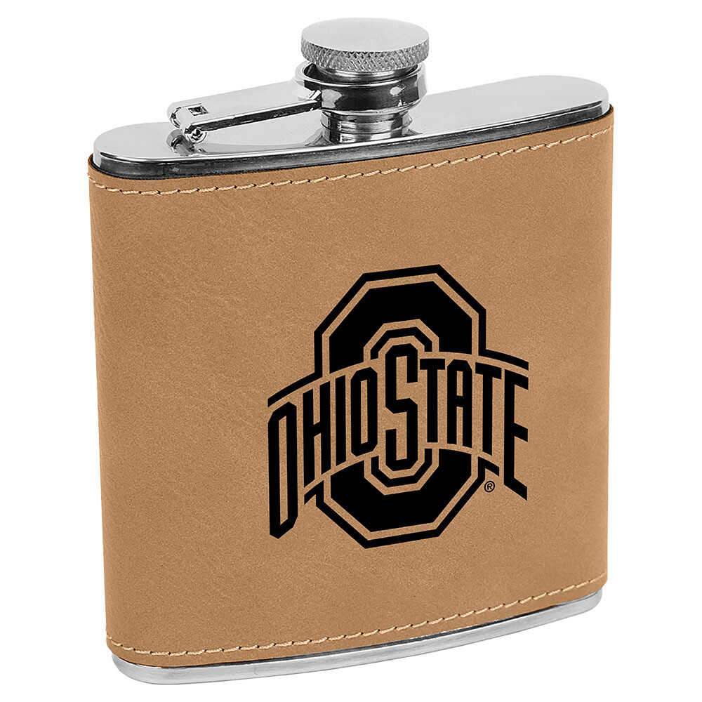 Ohio State Athletic Logo - Light Brown Leatherette Flask
