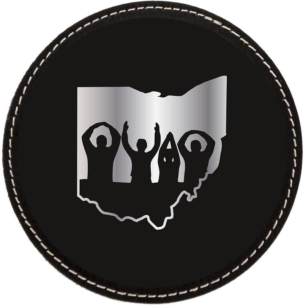 Ohio State O-H-I-O Logo - Black with Silver Leatherette Coasters