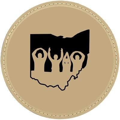 Ohio State O-H-I-O Logo - Light Brown Leatherette Coasters