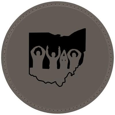 Ohio State O-H-I-O Logo - Gray Leatherette Coasters