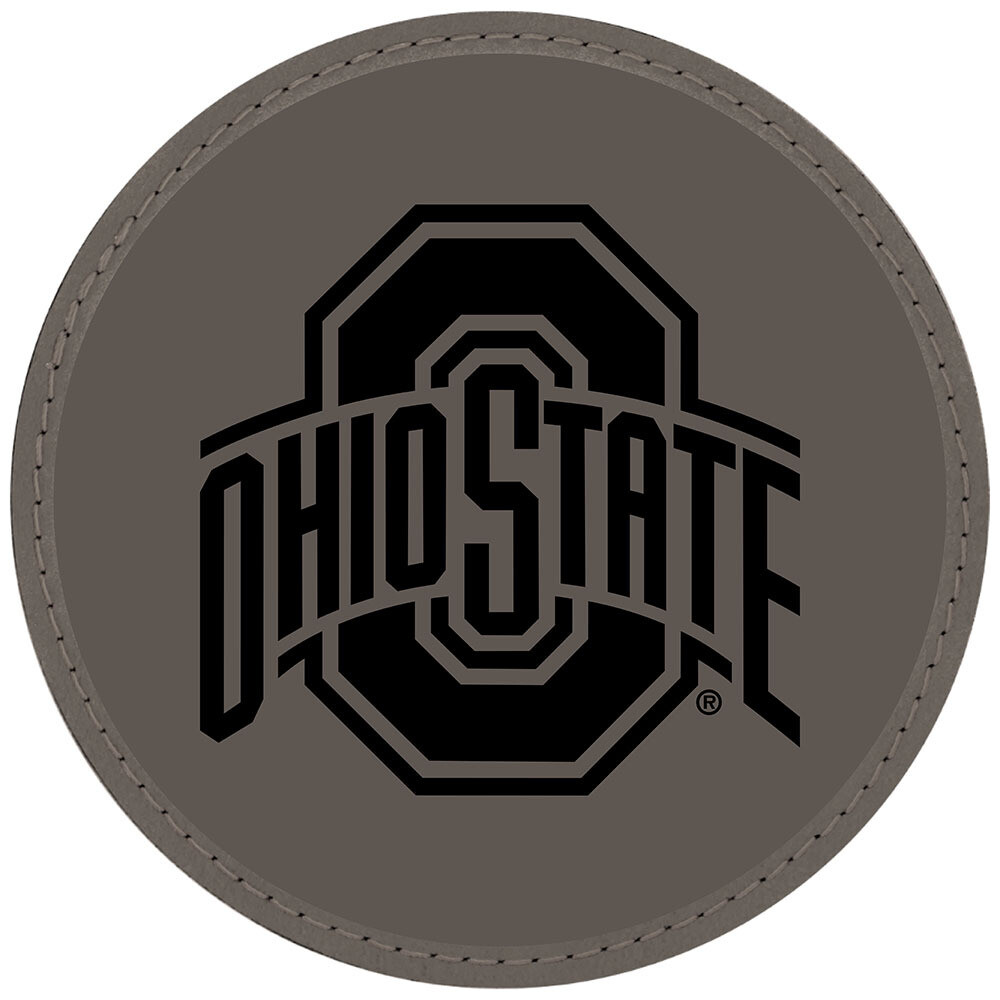 Ohio State Athletic Logo - Gray Leatherette Coasters