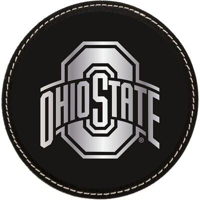 Ohio State Athletic Logo - Black with Silver Leatherette Coasters