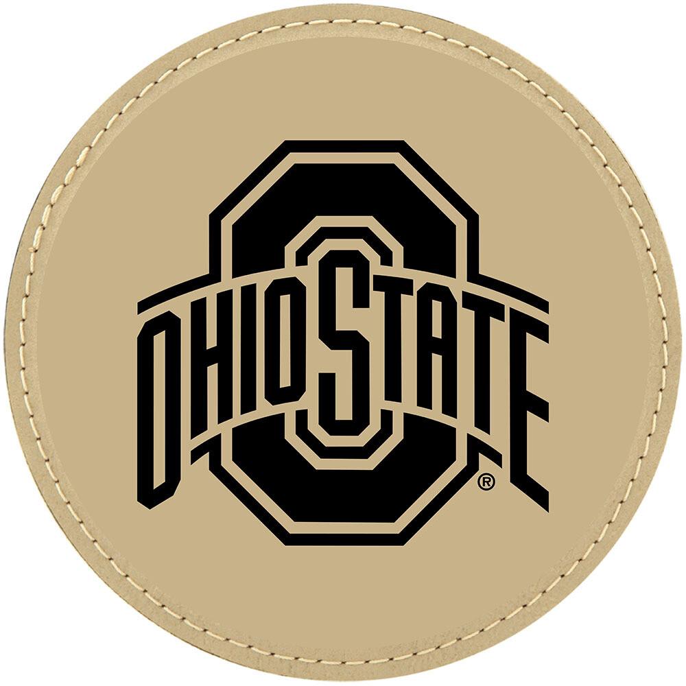 Ohio State Athletic Logo - Light Brown Leatherette Coasters
