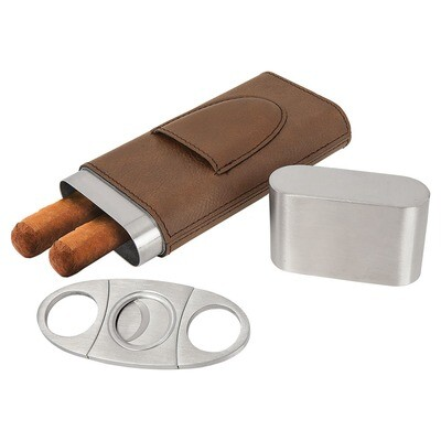 Cigar Gifts - Dark Brown Leatherette Cigar Case with Cutter
