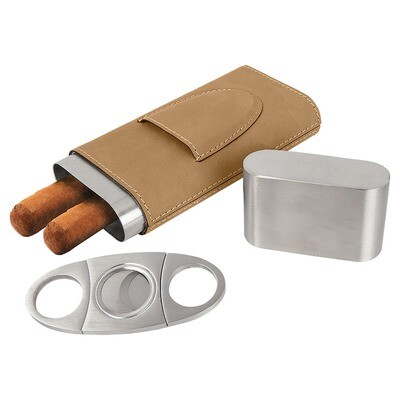 Cigar Gifts - Light Brown Leatherette Cigar Case with Cutter