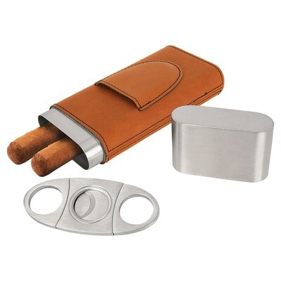 Cigar Gifts - Rawhide Leatherette Cigar Case with Cutter