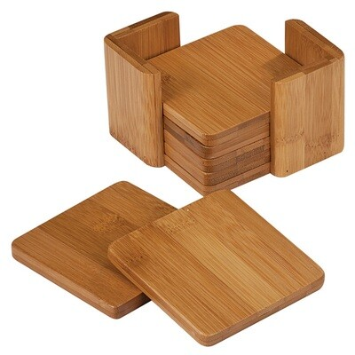 Coasters - Bamboo Square Coaster Set with Holder