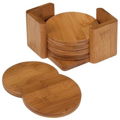 Coasters - Bamboo Round Coaster Set with Holder