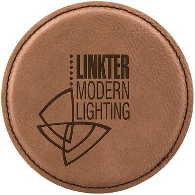 Coasters - Dark Brown Round Leatherette Coaster Set