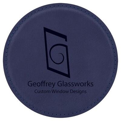 Coasters - Navy Blue with Black Round Leatherette Coaster Set