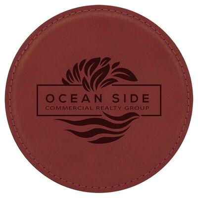 Coasters - Rose Round Leatherette Coaster Set
