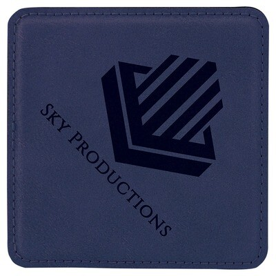 Coasters - Navy Blue with Black Square Leatherette Coaster Set