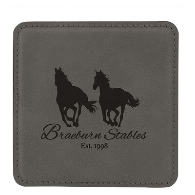 Coasters - Gray Square Leatherette Coaster Set