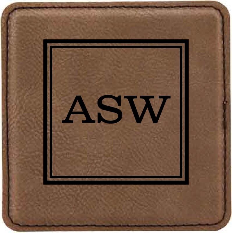 Coasters - Dark Brown Square Leatherette Coaster Set