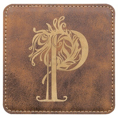 Coasters - Rustic Brown with Gold Square Leatherette Coaster Set