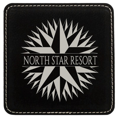 Coasters - Black with Silver Square Leatherette Coaster Set