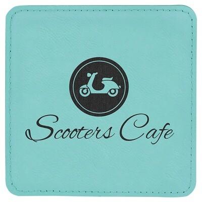 Coasters - Teal Square Leatherette Coaster Set