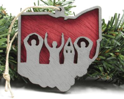 Ohio State O-H-I-O Wooden Rustic Christmas Ornament