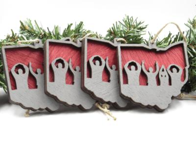 Ohio State O-H-I-O Wooden Rustic Christmas Ornament (Set of 4)