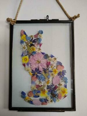 Pressed Flower Cat. Made to order. Your choice of size, flowers and colours.