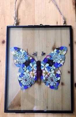 Pressed Flower Butterfly. Made to order. Your choice of flowers and colours.