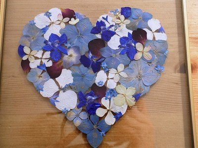Pressed Flower Heart. Made to order. Your choice of flowers and colours.