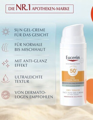 Kem Chống Nắng Eucerin  Face Gel - Oil Control Dry Touch 50+