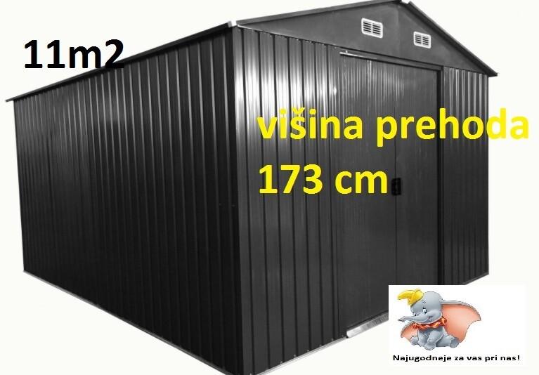 Vrtna kovinska hiška/ uta za orodje siva - 11 m² - večja vrata