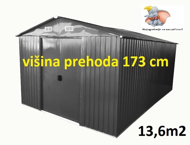 Vrtna kovinska hiška/ uta za orodje siva - 13 m² - večja vrata