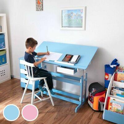 Otroška pisalna miza – nastavitev kota in višine - nagibna